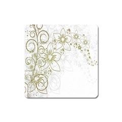 Flowers Background Leaf Leaves Square Magnet