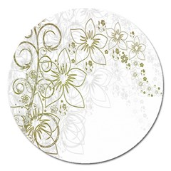 Flowers Background Leaf Leaves Magnet 5  (Round)