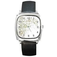 Flowers Background Leaf Leaves Square Metal Watch