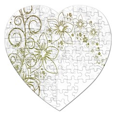 Flowers Background Leaf Leaves Jigsaw Puzzle (Heart)