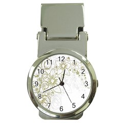 Flowers Background Leaf Leaves Money Clip Watches
