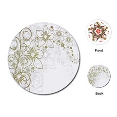 Flowers Background Leaf Leaves Playing Cards (Round)