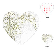 Flowers Background Leaf Leaves Playing Cards (Heart)
