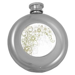 Flowers Background Leaf Leaves Round Hip Flask (5 oz)