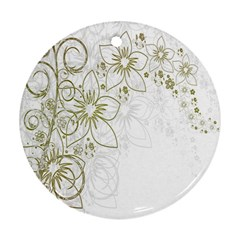 Flowers Background Leaf Leaves Round Ornament (Two Sides)