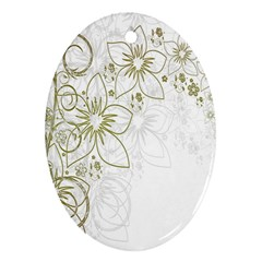 Flowers Background Leaf Leaves Oval Ornament (Two Sides)