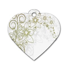 Flowers Background Leaf Leaves Dog Tag Heart (One Side)