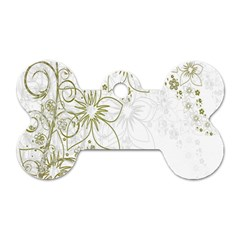 Flowers Background Leaf Leaves Dog Tag Bone (Two Sides)