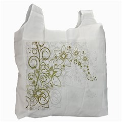 Flowers Background Leaf Leaves Recycle Bag (Two Side)
