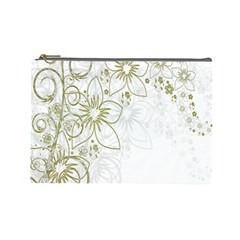 Flowers Background Leaf Leaves Cosmetic Bag (Large)