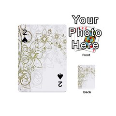 Flowers Background Leaf Leaves Playing Cards 54 (Mini)