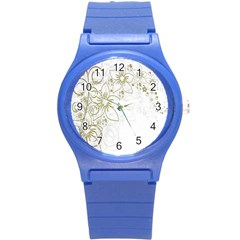 Flowers Background Leaf Leaves Round Plastic Sport Watch (S)
