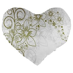 Flowers Background Leaf Leaves Large 19  Premium Heart Shape Cushions
