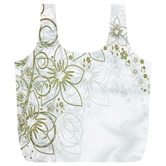 Flowers Background Leaf Leaves Full Print Recycle Bags (l)