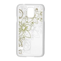Flowers Background Leaf Leaves Samsung Galaxy S5 Case (White)