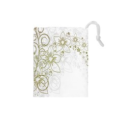 Flowers Background Leaf Leaves Drawstring Pouches (Small)