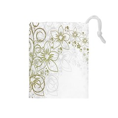 Flowers Background Leaf Leaves Drawstring Pouches (Medium)