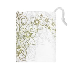 Flowers Background Leaf Leaves Drawstring Pouches (Large)