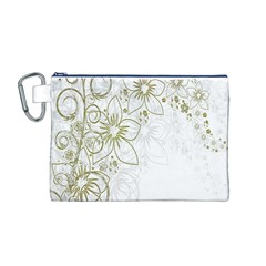 Flowers Background Leaf Leaves Canvas Cosmetic Bag (M)