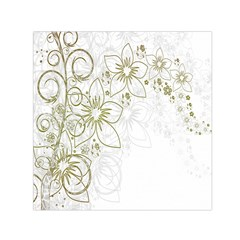 Flowers Background Leaf Leaves Small Satin Scarf (Square)