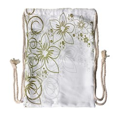 Flowers Background Leaf Leaves Drawstring Bag (large)