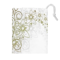 Flowers Background Leaf Leaves Drawstring Pouches (extra Large)