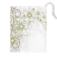 Flowers Background Leaf Leaves Drawstring Pouches (XXL)