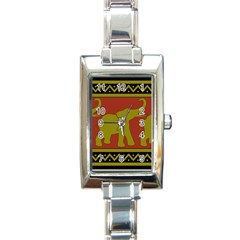 Elephant Pattern Rectangle Italian Charm Watch