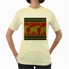Elephant Pattern Women s Yellow T Shirt