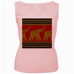 Elephant Pattern Women s Pink Tank Top