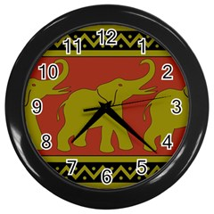 Elephant Pattern Wall Clocks (Black)