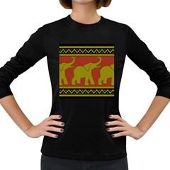 Elephant Pattern Women s Long Sleeve Dark T-Shirts