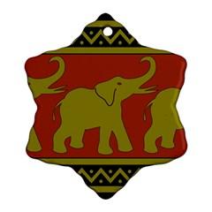 Elephant Pattern Snowflake Ornament (Two Sides)
