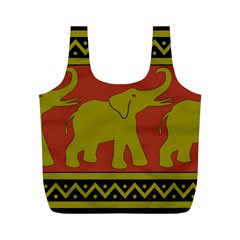 Elephant Pattern Full Print Recycle Bags (M)