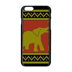 Elephant Pattern Apple iPhone 6/6S Black Enamel Case