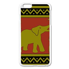 Elephant Pattern Apple Iphone 6 Plus/6s Plus Enamel White Case
