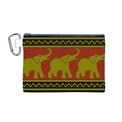 Elephant Pattern Canvas Cosmetic Bag (M)