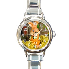 Easter Hare Easter Bunny Round Italian Charm Watch