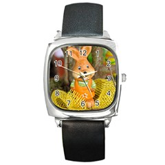 Easter Hare Easter Bunny Square Metal Watch
