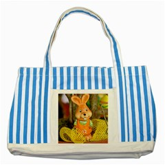 Easter Hare Easter Bunny Striped Blue Tote Bag