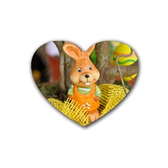 Easter Hare Easter Bunny Heart Coaster (4 pack)