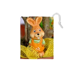 Easter Hare Easter Bunny Drawstring Pouches (Small)