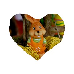 Easter Hare Easter Bunny Standard 16  Premium Flano Heart Shape Cushions