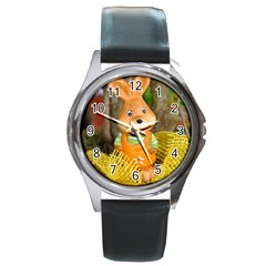 Easter Hare Easter Bunny Round Metal Watch