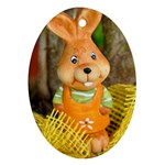 Easter Hare Easter Bunny Ornament (Oval) Front