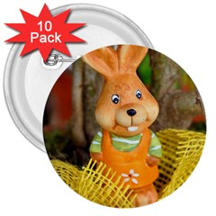 Easter Hare Easter Bunny 3  Buttons (10 pack)
