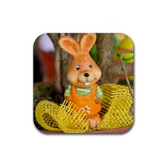 Easter Hare Easter Bunny Rubber Coaster (square)
