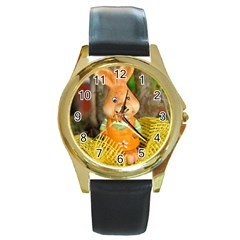 Easter Hare Easter Bunny Round Gold Metal Watch