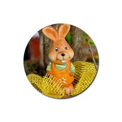 Easter Hare Easter Bunny Rubber Coaster (round)