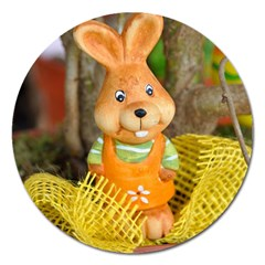 Easter Hare Easter Bunny Magnet 5  (Round)